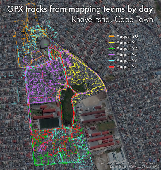 GPX tracks of mapping teams